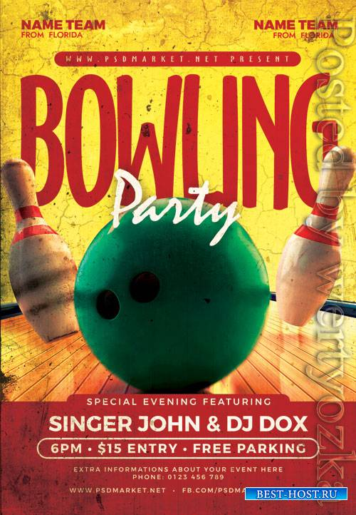 Bowling party - Premium flyer psd template