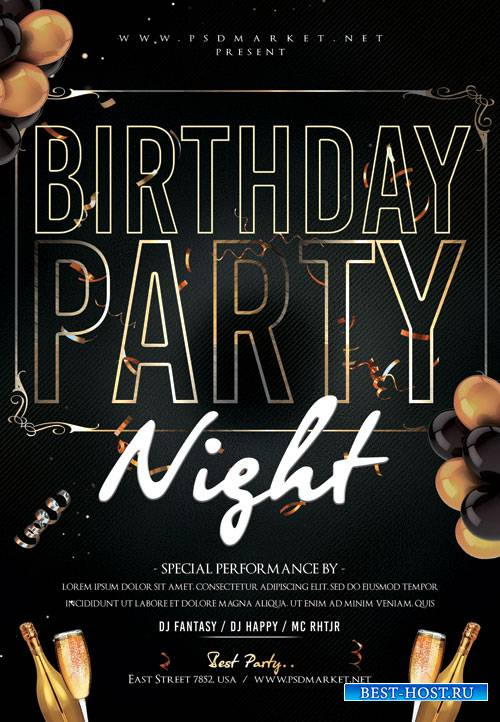 Birthday party night - Premium flyer psd template