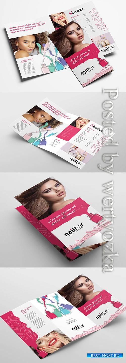 Nail Bar Trifold Brochure Layout