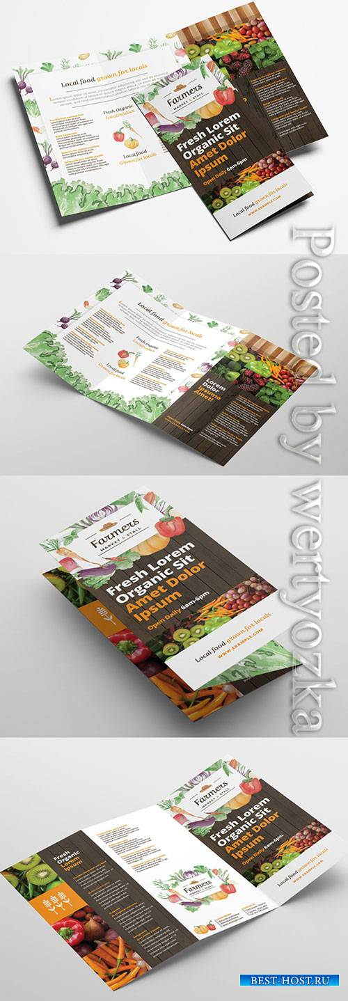 Trifold Brochure Layout with Organic Farmers Market Theme