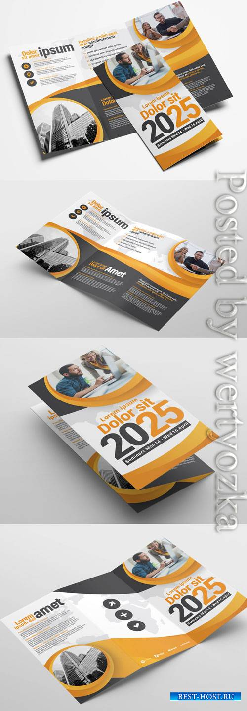 Trifold Brochure Layout with Modern Corporate Theme