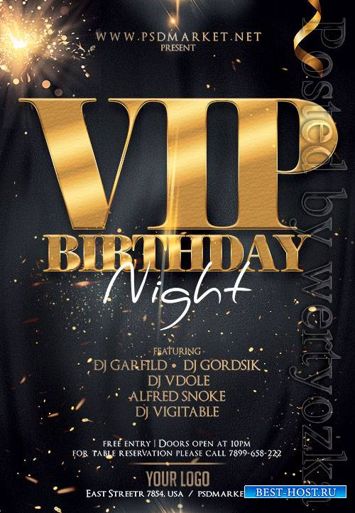 Vip birthday night - Premium flyer psd template