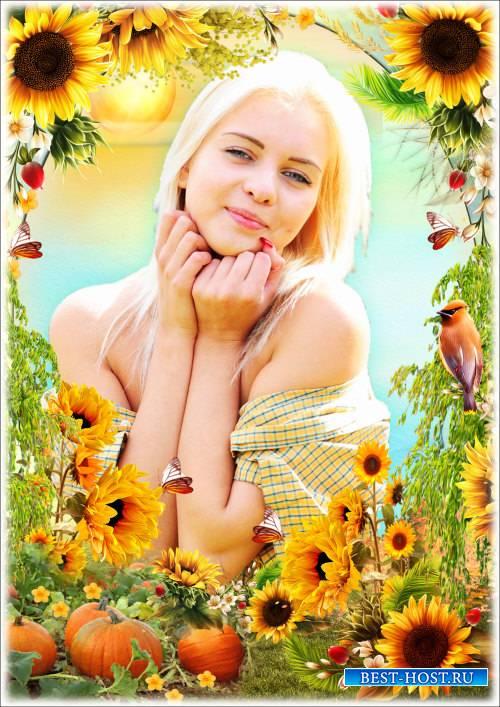 Рамка для фотошопа - Оранжевое солнце. Оранжевое лето