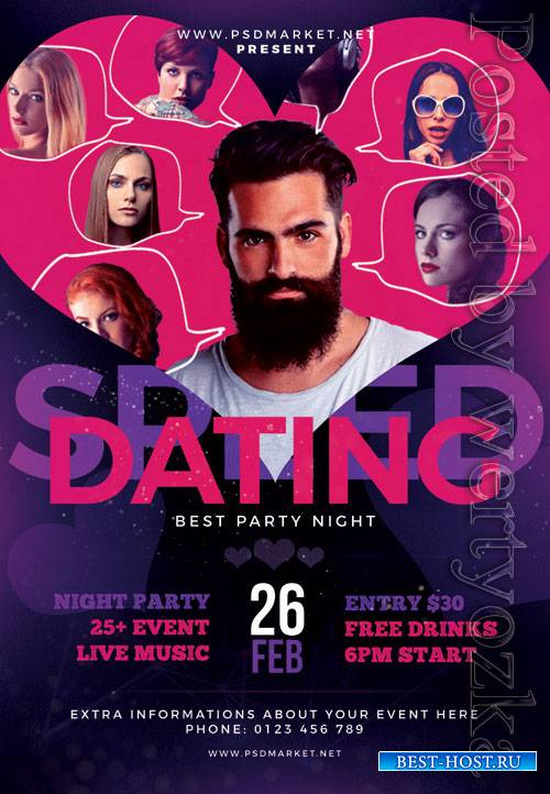 Speed dating party - Premium flyer psd template