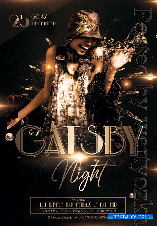 Gatsby night event - Premium flyer psd template
