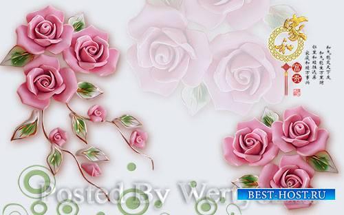 3D models pink jade carving three dimensional rose flower warm wall