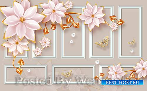 3D models template modern luxury pink jewels flowers gold leaves