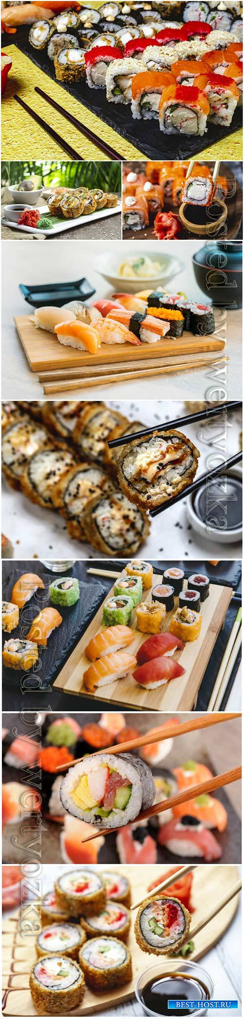 Sushi roll sets with wasabi sauce