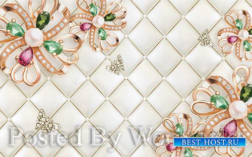 3D psd models four color gemstone golden flowers background wall