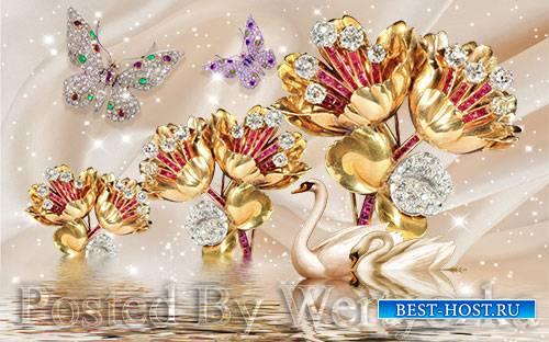 3D psd models beautiful swan flower jewelry wall