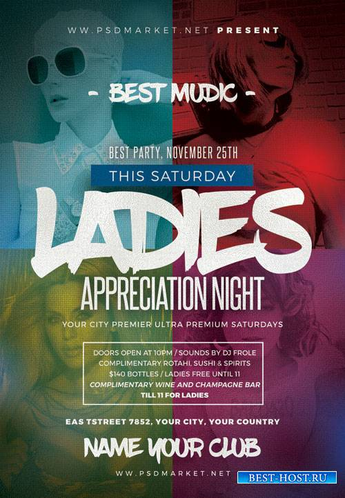 Ladies appreciation night - Premium flyer psd template