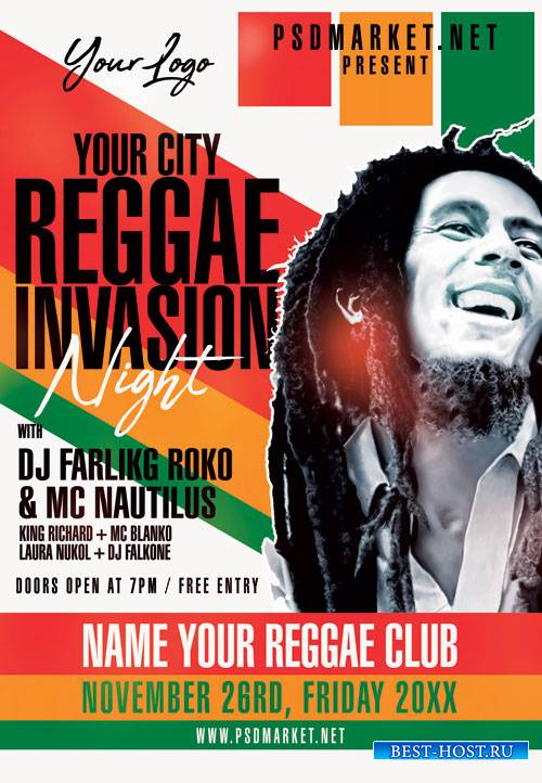 Reggae invasion - Premium flyer psd template
