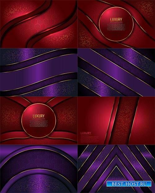 Красные и фиолетовые блестящие фоны в векторе