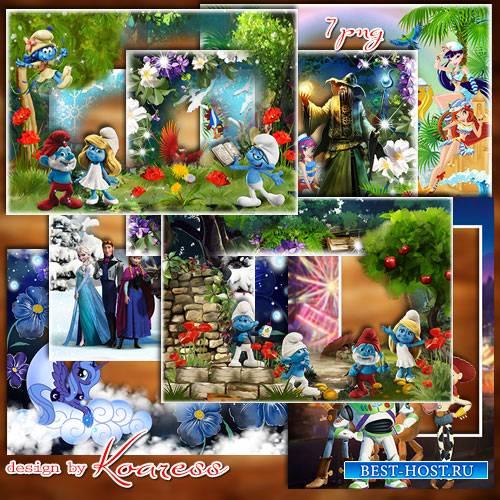 Сборник детских рамок для фото в формате png  со сказочными героями и персо ...