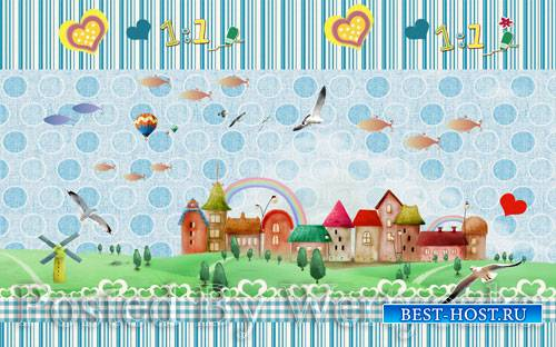 3D psd models modern minimalist cartoon animation children's room background wall decoration painting