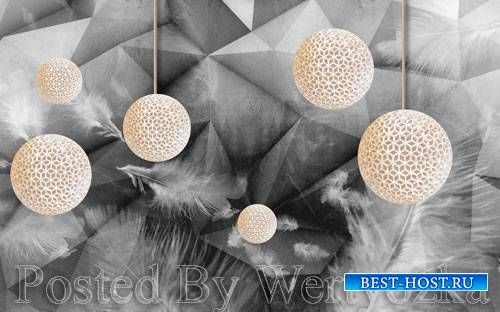 3D psd models modern fashion doodle feather three dimensional ball gray bac ...