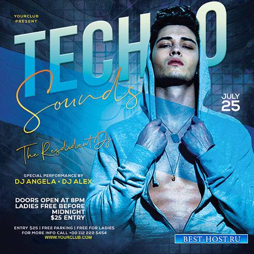 Techno Sound - Premium flyer psd template