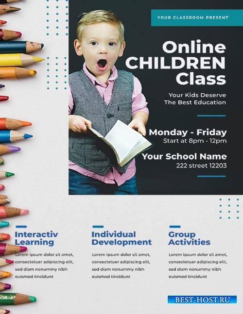Online School Learning - Premium flyer psd template