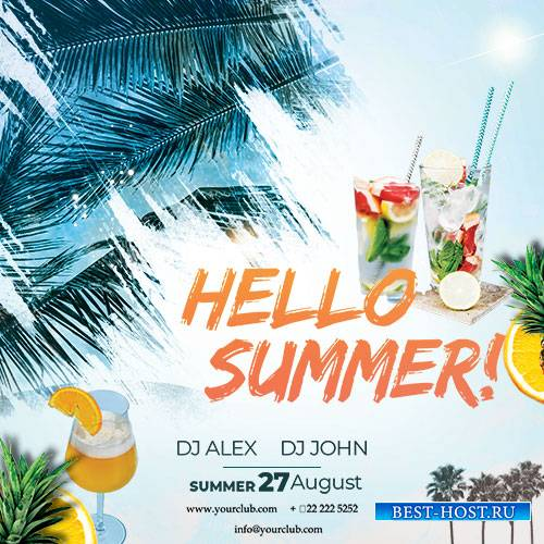 Hello Summer - Premium flyer psd template