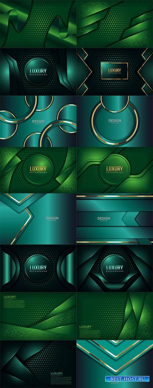 Зелёные и бирюзовые фоны - Векторный клипарт