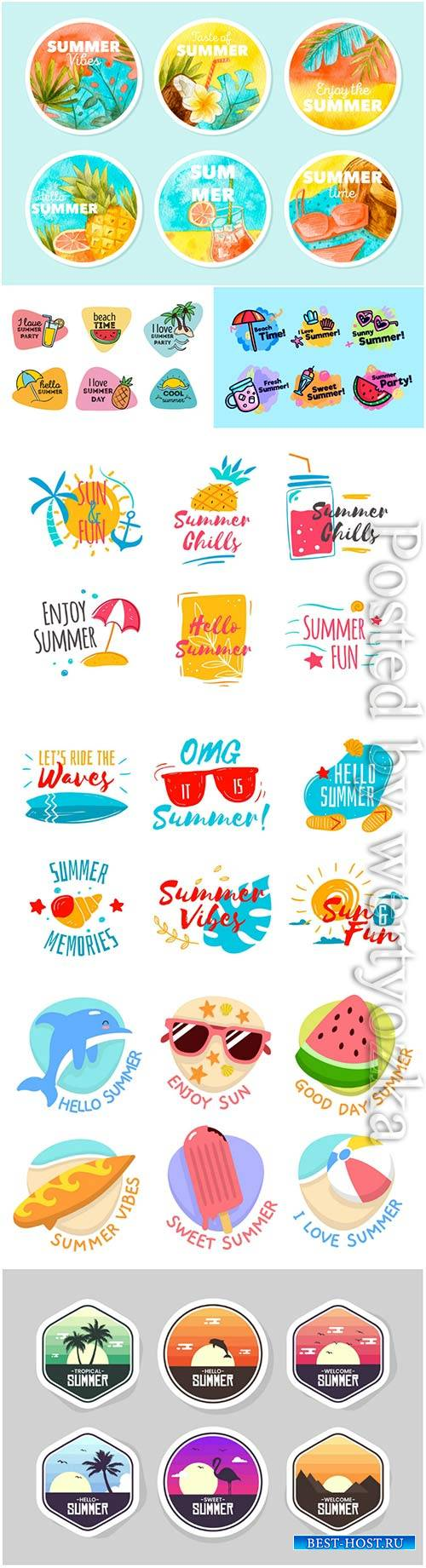 Summer labels vector collection # 11