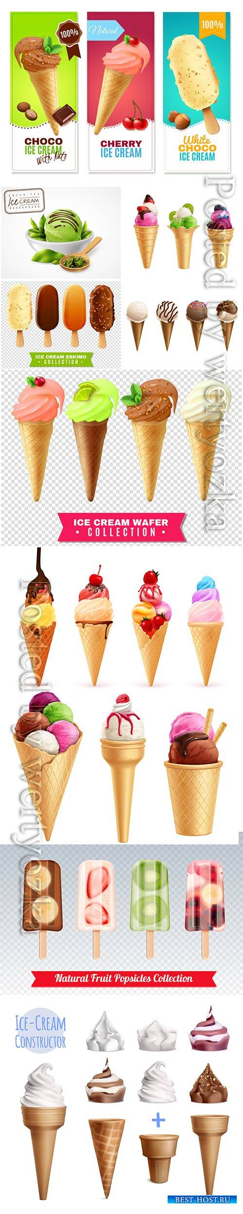 Ice cream with fruits and berries vector illustration