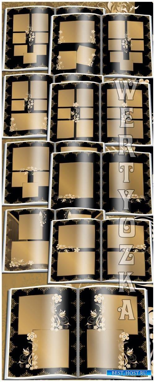 Beautiful photo album in black and gold design