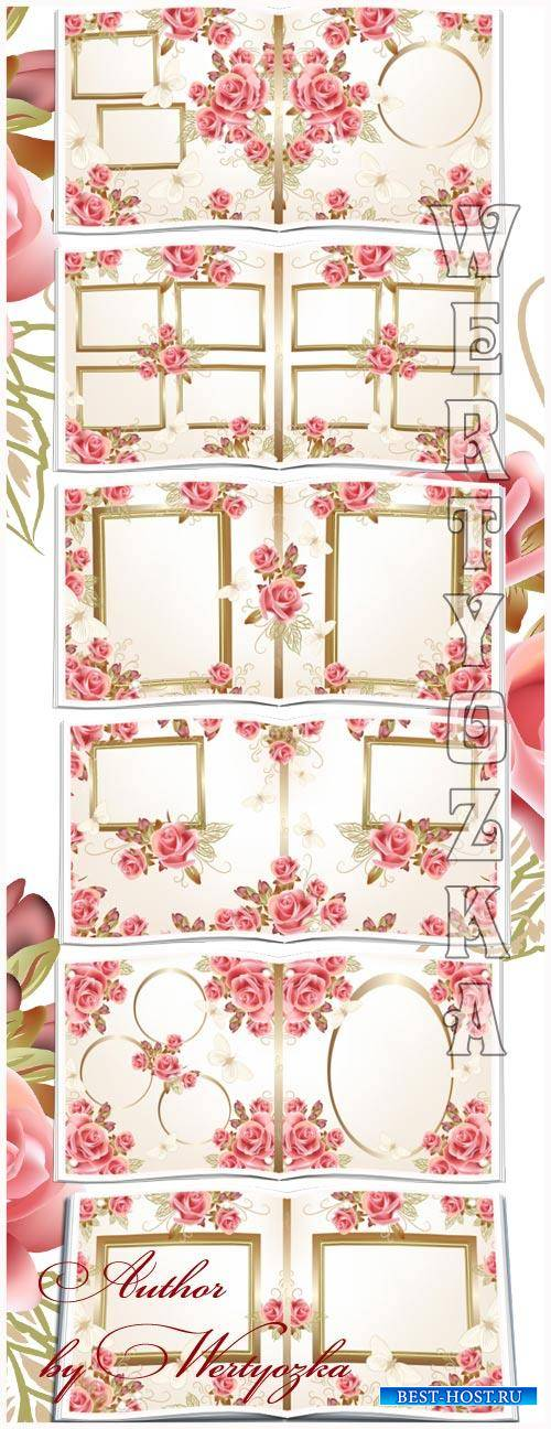 Beautiful wedding photo album with roses design