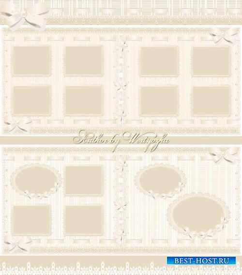 Beautiful photo album with beige delicate patterns design