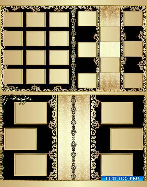 Stylish photo album with beautiful gold patterns design