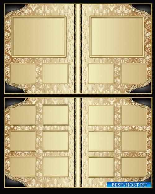 Stylish photo album with golden patterns design
