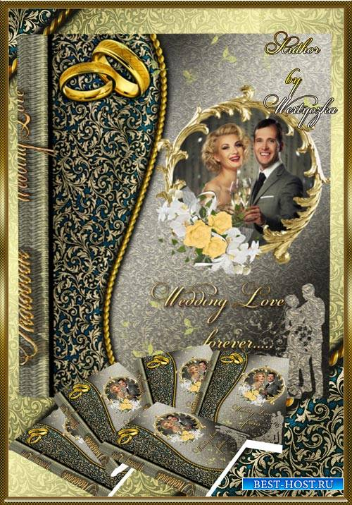 Beautiful photo album with golden design