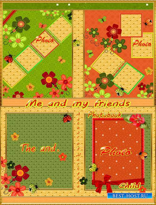 Beautiful children's photo album with ladybirds and flowers