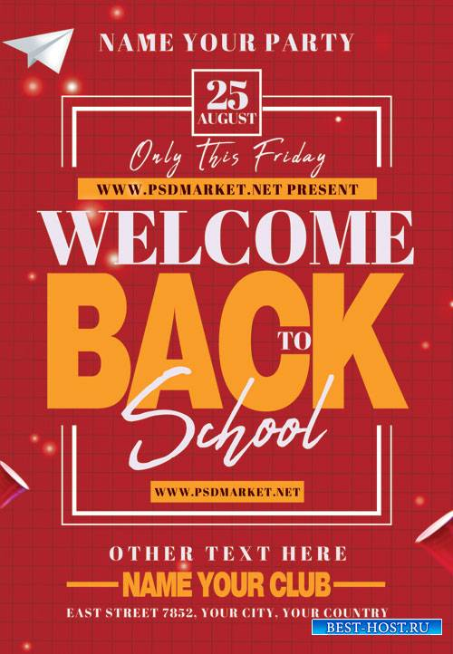 Welcome back to school event - Premium flyer psd template