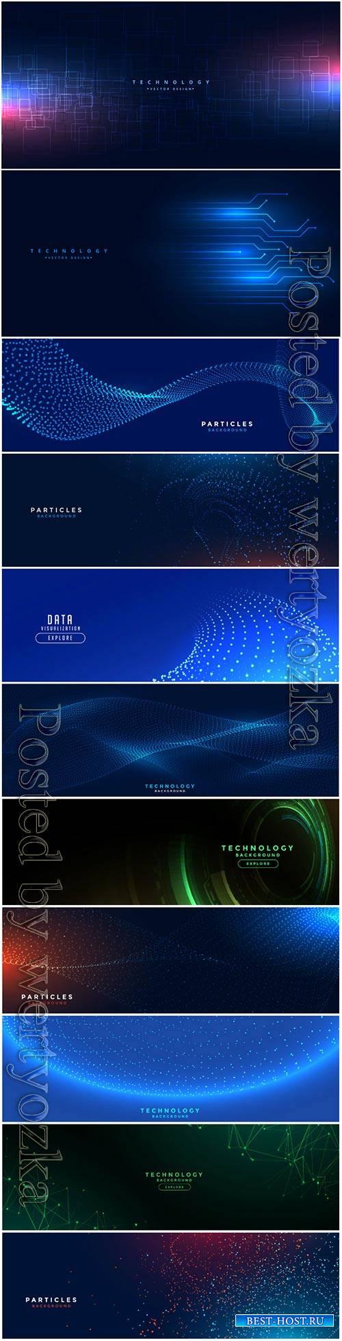 Digital technology network lines mesh vector banner