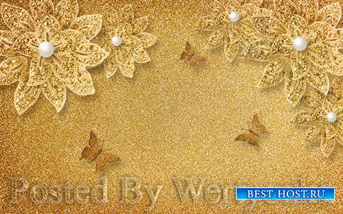 3D psd models luxury broken gold flower pearl butterfly background wall