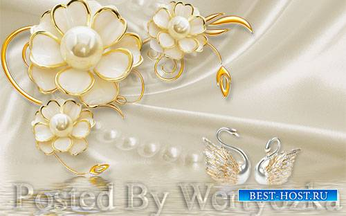 3D psd models dimensional luxury gold jewels flowers swan pearl wall backgr ...