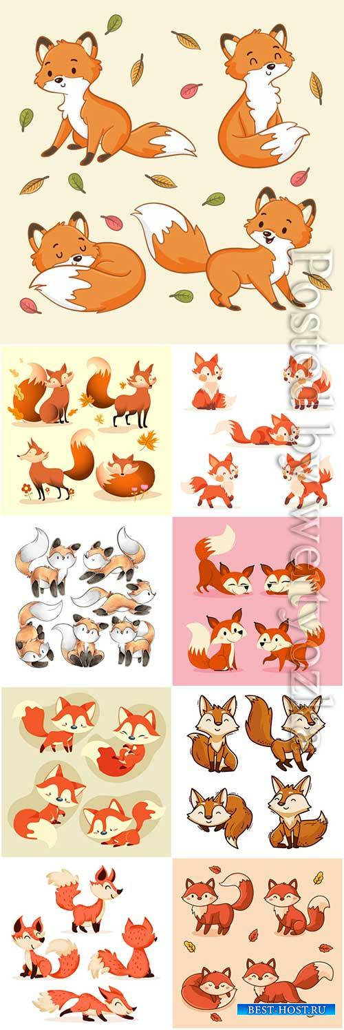 Hand drawn fox collection vector illustration