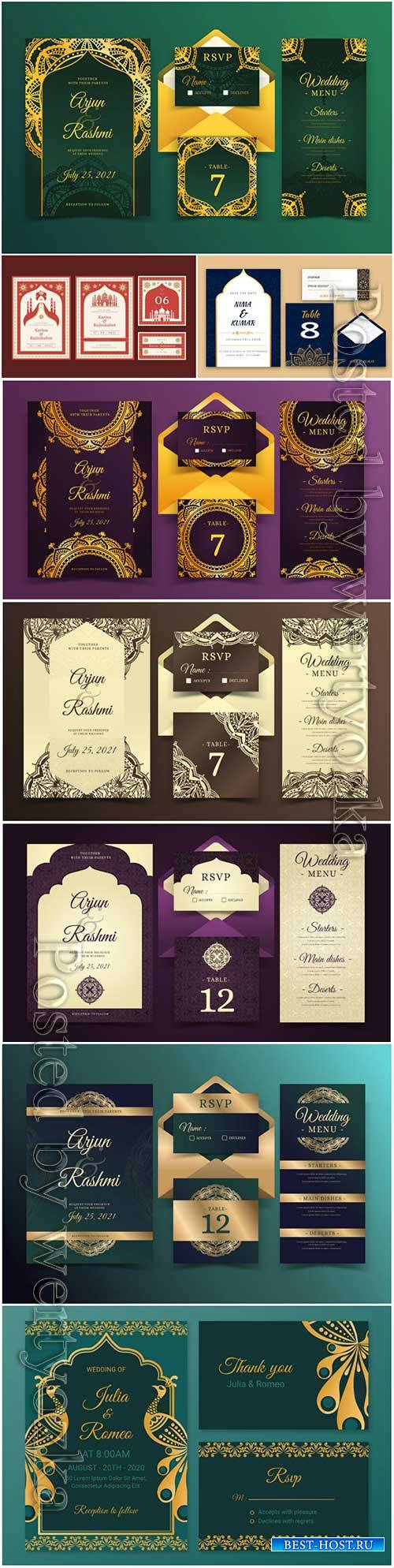 Elegant indian wedding stationery templates vector illustration