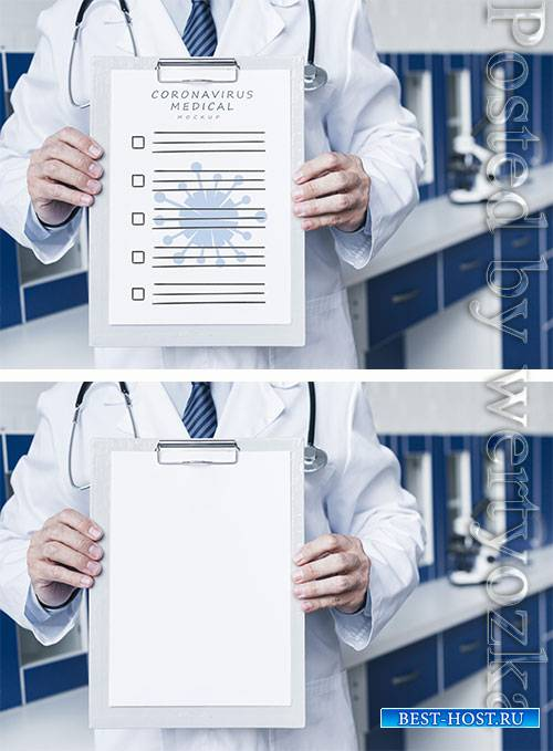 Smiley doctor holding a medical paper mock-up medium shot