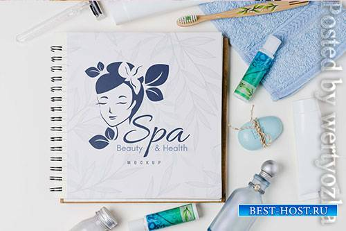Spa and wellness arrangement with notebook mock-up