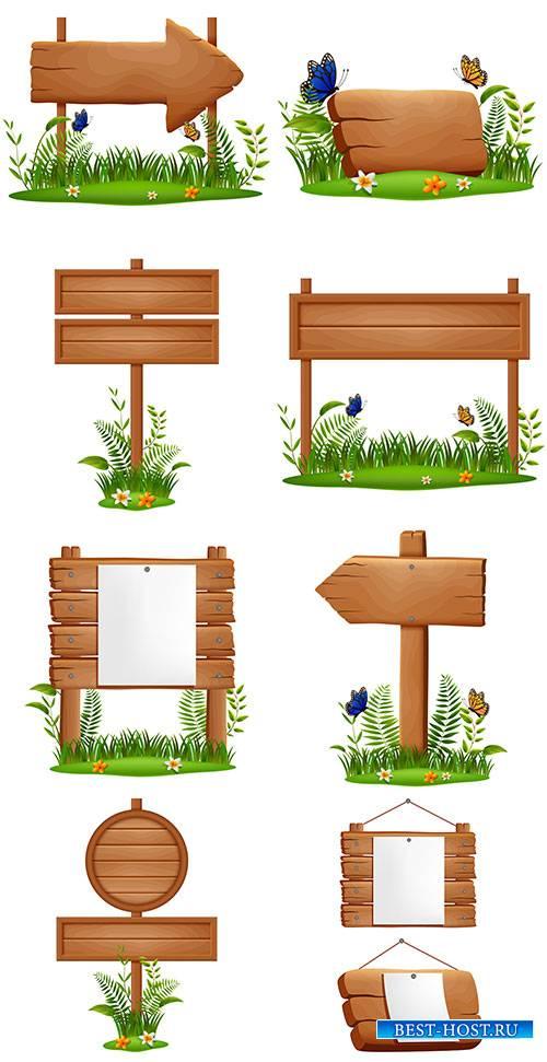 Деревянные вывески, таблички и указатели на траве - Векторный клипарт