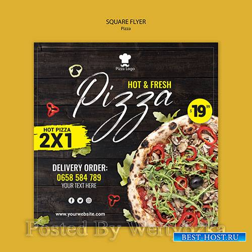Pizza restaurant square flyer with photo