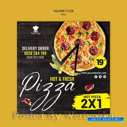 Pizza restaurant square flyer template