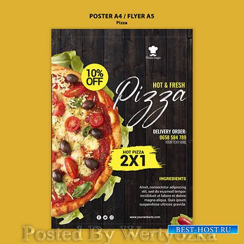 Pizza restaurant poster with photo