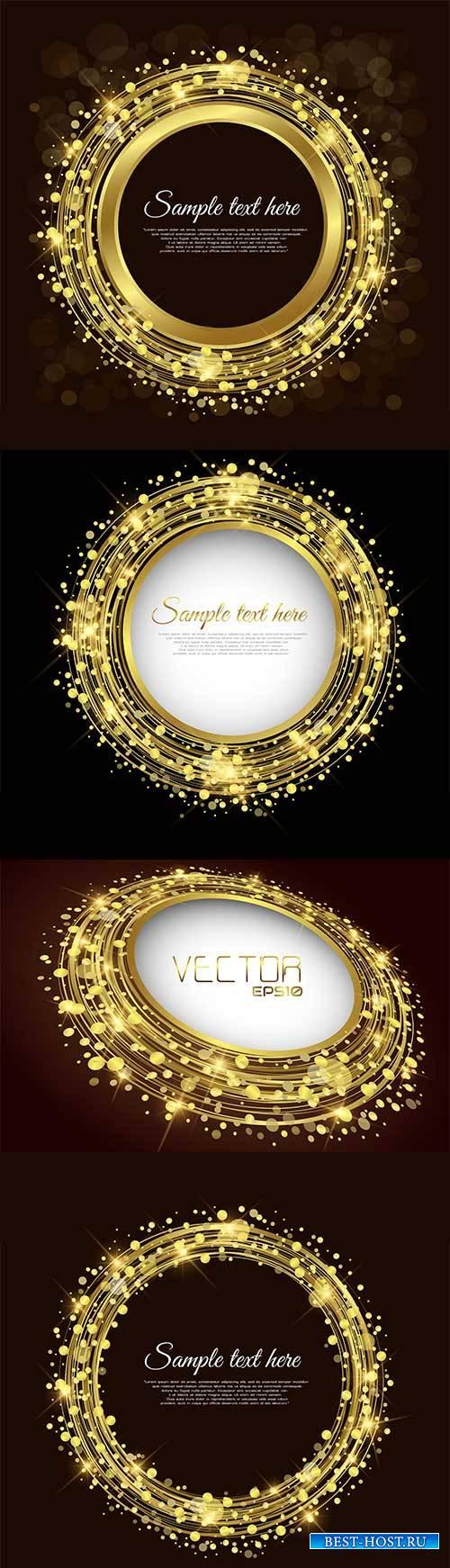Золотые круглые рамки - Векторный клипарт