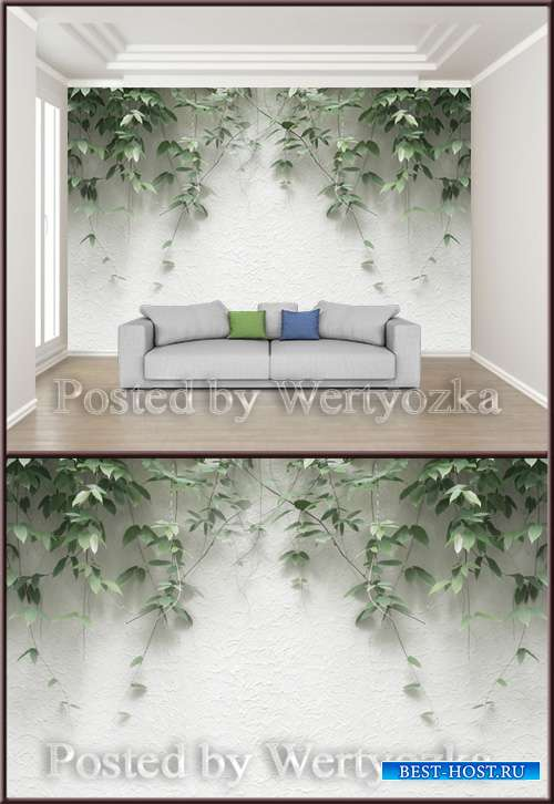 3D psd background wall modern minimalist plant