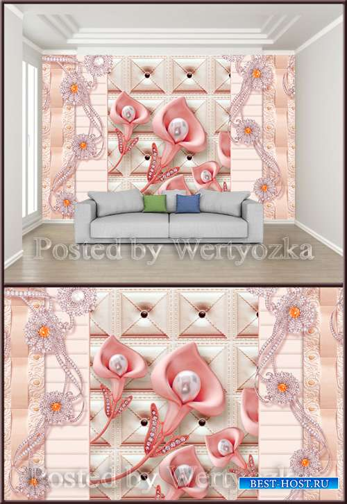 3D psd background wall luxury three dimensional pink pearl flower