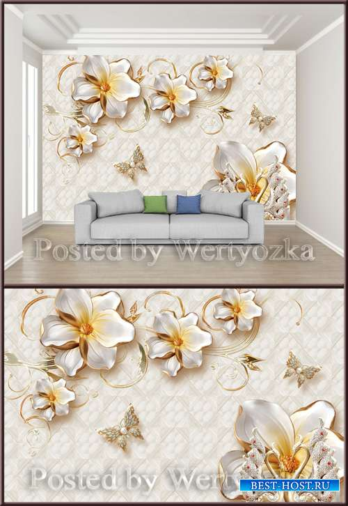3D psd background wall golden jewels flowers
