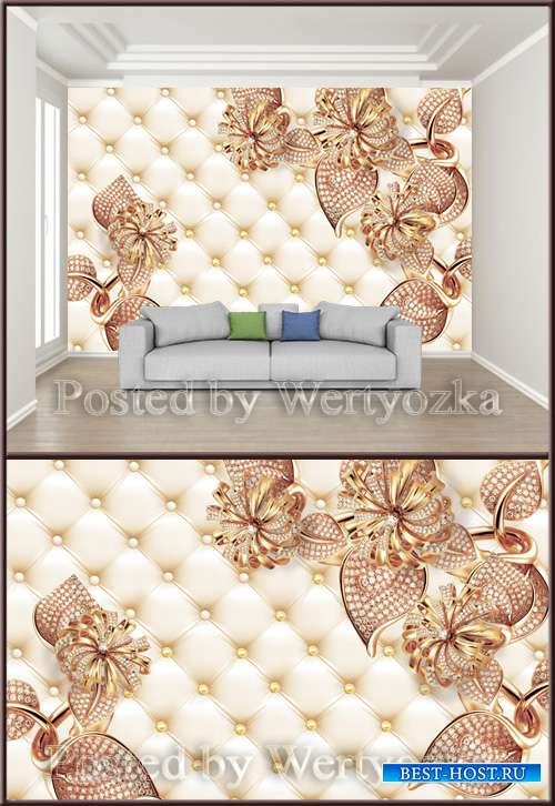 3D psd background wall jewels soft leaf